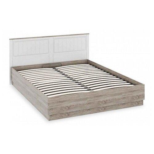 Кровать ТриЯ Прованс двуспальная, размер (ДхШ): 209х170 см, спальное место (ДхШ): 200х160 см, каркас: ЛДСП, цвет: Дуб Сонома трюфель/Крем