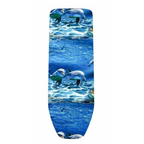 Чехол для гладильной доски ГЕЛЕОС 3-х слойный 125х47 см дельфины