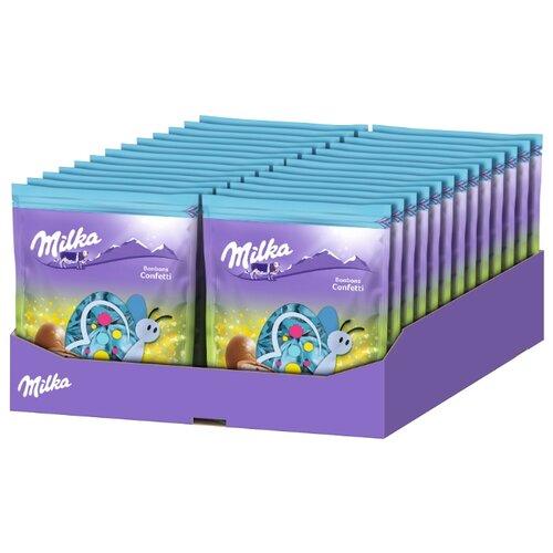Фигурный шоколад Milka Bonbons Confetti молочный в форме яйца с молочным кремом (26 шт.) фигурный шоколад milka mini eggs молочный в форме яйца в сахарной глазури 24 шт