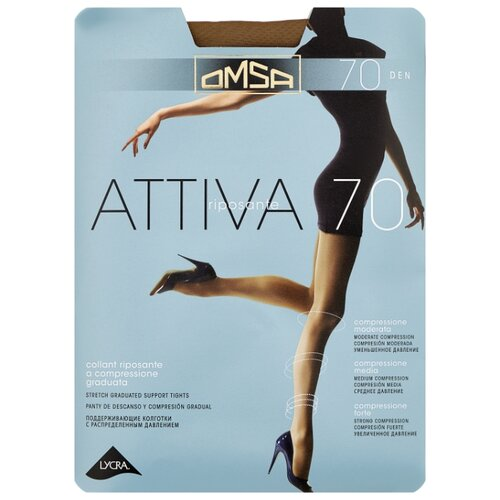 Фото - Колготки Omsa Attiva 70 den, размер 3-M, daino (коричневый) колготки omsa attiva с поддерживающими шортиками 70 den daino р 5