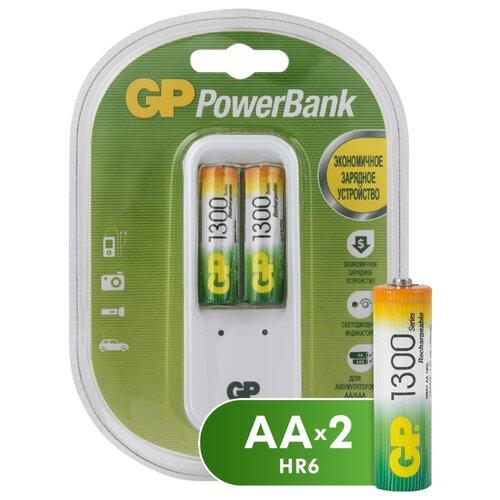 Фото - Аккумулятор Ni-Mh 1300 мА·ч GP Rechargeable 1300 Series AA + Зарядное устройство PowerBank, 2 шт. аккумулятор ni mh 1000 ма·ч smartbuy rechargeable aa 2 шт
