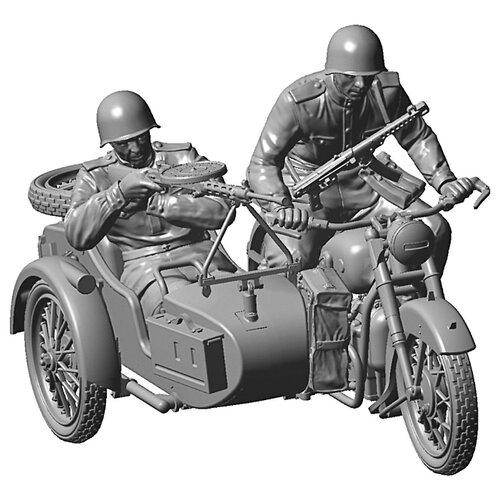 d lex деревянный конструктор мотоцикл с коляской звуковые эффекты Сборная модель ZVEZDA Советский мотоцикл М-72 с коляской и экипажем (3639) 1:35