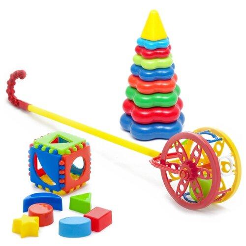 Купить Набор развивающий Каталка Колесо 40-0032 + Игрушка Кубик логический малый 40-00110 + Пирамида детская большая 40-0045, Karolina toys, Развивающие игрушки
