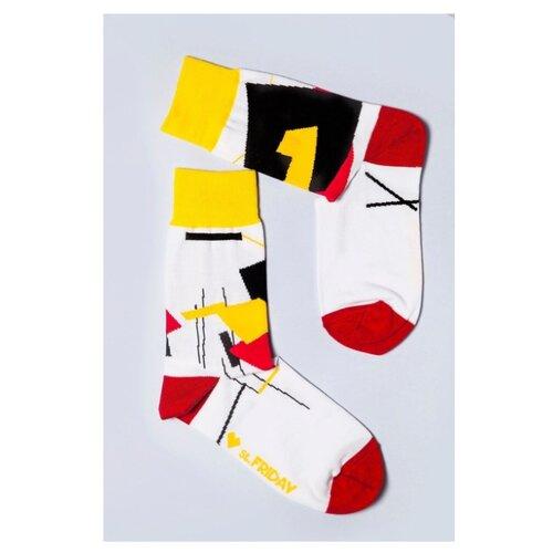 Фото - Носки St. Friday Супрематизм Клюн, размер 38-41 , белый/красный/желтый носки st friday египетская сила размер 38 41 белый коричневый желтый