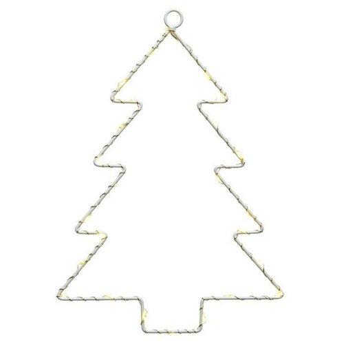 Светящееся украшение ЁЛОЧКА, 40 тёплых белых LED-огней, 2.5x32x43 см, батарейки, Kaemingk 490686 светящееся панно баночка снеговичков merry christmas mdf 5 тёплых белых led огней 17x27 см таймер батарейки kaemingk