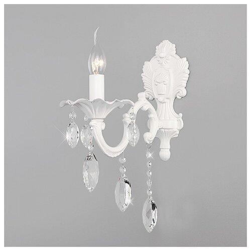Настенный светильник Eurosvet Veletta 10108/1 белый/прозрачный хрусталь Strotskis, 60 Вт настенный светильник eurosvet collana 10096 1 хром прозрачный хрусталь strotskis 60 вт