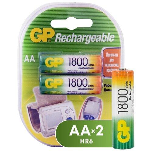 Фото - Аккумулятор Ni-Mh 1800 мА·ч GP Rechargeable 1800 Series AA 2 шт блистер аккумулятор ni mh 1000 ма·ч gp rechargeable 1000 series aaa usb светильник 4 шт блистер