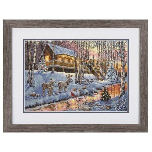Купить Dimensions Набор для вышивания Winter Cabin (Зимняя хижина) 38, 1 х 25, 4 см (70-08976), Наборы для вышивания