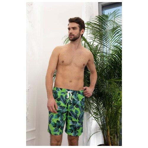 Laete Летние мужские удлиненные шорты с листьями, зеленый, XL