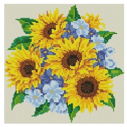 Мозаичная картина Букет с подсолнухами', 30x30 см