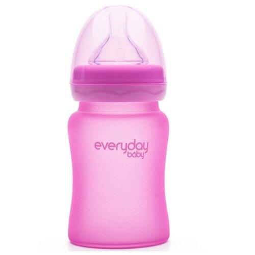 Купить Бутылочка EveryDay Baby с индикатором температуры из стекла 150 мл розовая, Бутылочки и ниблеры