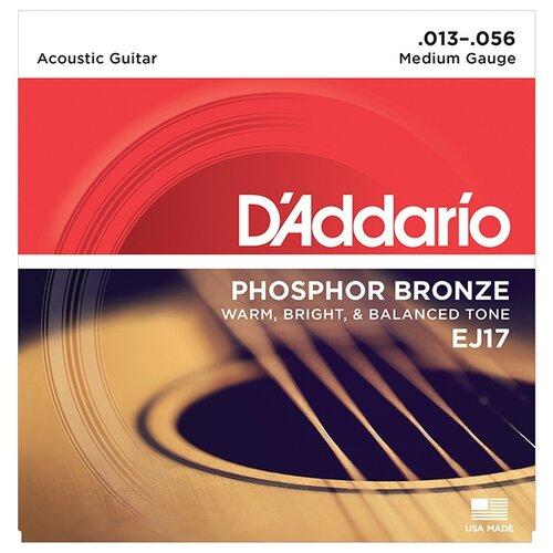 Струны для акустической гитары Medium 13-56 D`Addario EJ17 PHOSPHOR BRONZE