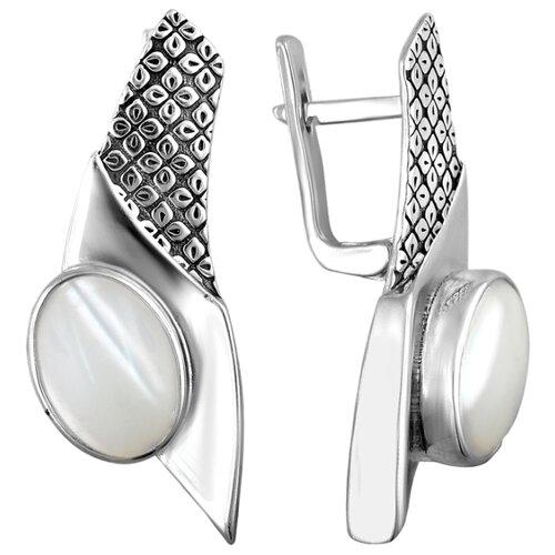 Эстет Серебряные серьги с перламутр К3С453480АЧ