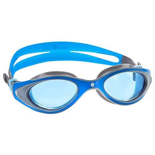маска для плавания madwave junior flame mask цвет розовый Очки для плавания MAD WAVE Automatic Junior Flame blue/grey