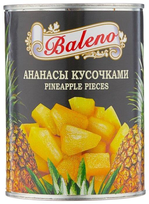 Консервированные ананасы Baleno кусочками в сиропе, жестяная банка 560 г