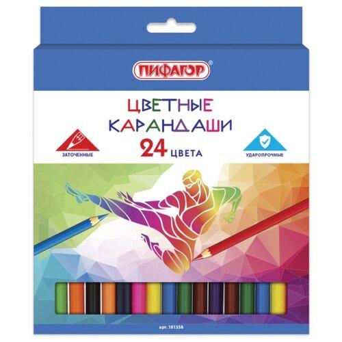 Купить Пифагор Карандаши цветные Быстрее! Выше! Сильнее! 24 цвета (181358), Цветные карандаши