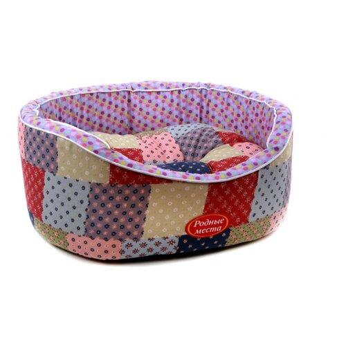 Лежак для собак и кошек Родные места Премиум №1 Лето в деревне 43х38х15 см фиолетовый/красный/бежевый