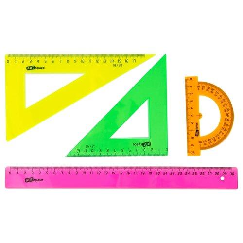 ArtSpace Набор чертежный флуоресцентный 4 предмета (256254) розовый/зеленый/оранжевый/желтый jd коллекция флуоресцентный оранжевый женщина 36