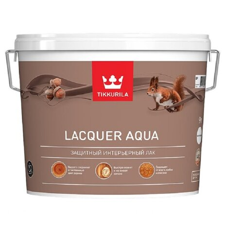 Лак Tikkurila Lacquer Aqua матовый полиакриловый бесцветный 9 л лак tikkurila kiva 30 полиакриловый бесцветный 0 9 л