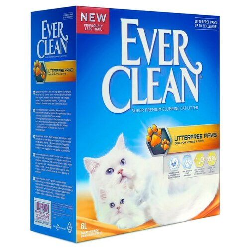Комкующийся наполнитель Ever Clean Litter Free Paws (Less Trail) 6 л/6 кг