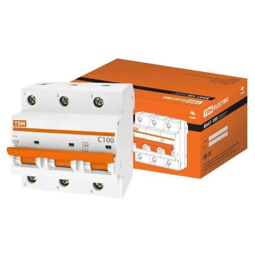 Автоматический выключатель TDM ЕLECTRIC ВА 47-100 3P (C) 10kA 100 А выключатель автоматический однополюсный 6а c 4 5ka ва 47 63 ekf proxima