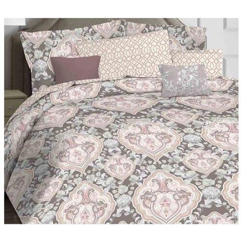 цена Постельное белье 2-спальное Mona Liza Geraldine, сатин серый/розовый онлайн в 2017 году
