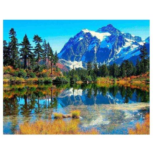 Алмазная вышивка Цветной Горы в отражении, 50x40