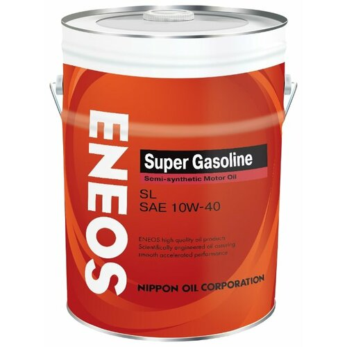 Моторное масло ENEOS Super Gasoline SL 10W-40 20 л 5w30 легковое масло моторное eneos super gasoline sl 5 30 200 л