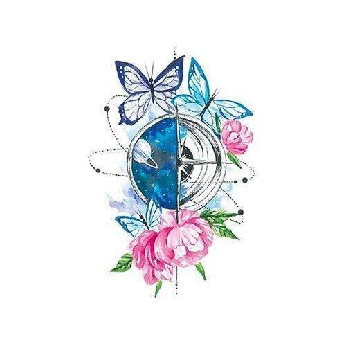 Polysfera Tattoo Авторская татуировка Tattoo PS&KG 0026 голубой/розовый