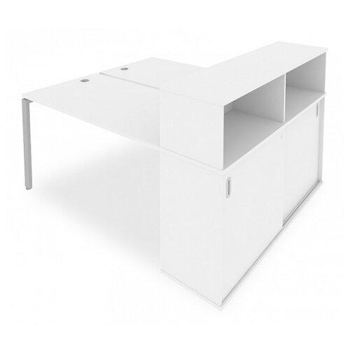 Стол офисный Рива Metal System Б.РС-СШК-2.3 белый/серый