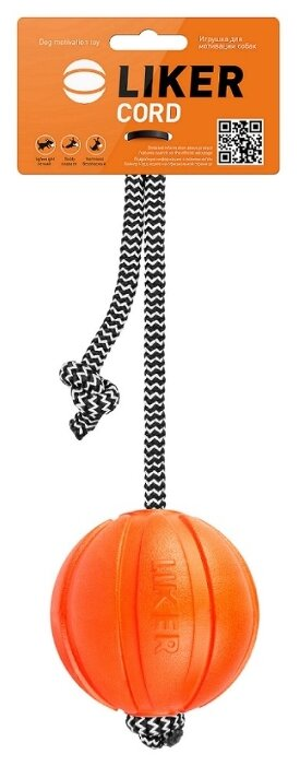Мячик для собак LIKER Мячик Лайкер Корд на шнуре (6285)