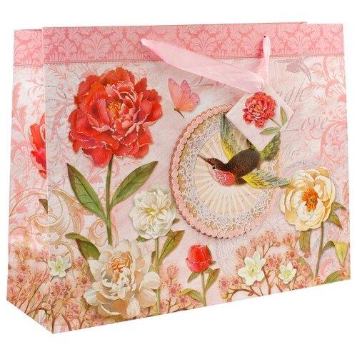 Пакет подарочный Perfect Craft Маленькая колибри 35 х 28 х 12.5 см розовый