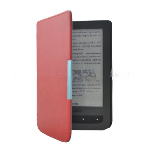 Чехол-обложка футляр MyPads для PocketBook 624 Basic Touch/ PocketBook 614 Basic 2/ PocketBook 615 из качественной эко-кожи тонкий с магнитной застежкой красный