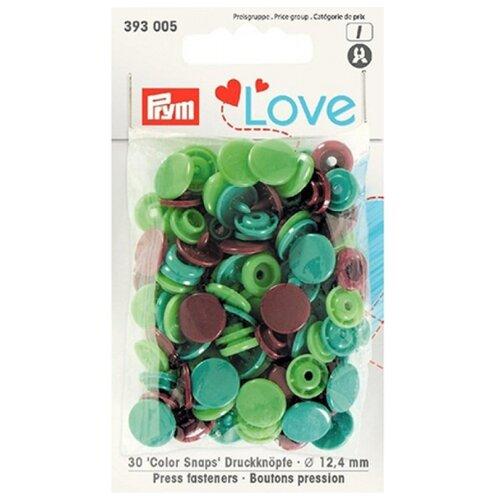 Купить Prym Кнопки непришивные Love - Color Snaps 393005, зеленый/светло-зеленый/коричневый 12.4 мм, 30 шт.