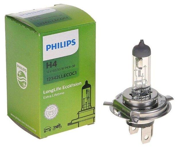 Лампа автомобильная галогенная Philips H4 EcoVision LongLife 12V 60/55W 1 шт.