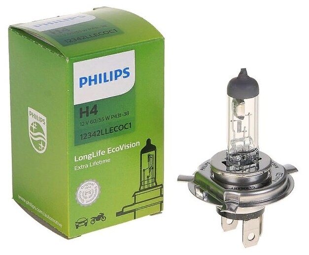 Лампа Philips Xtreme Vision H4 60/55W 3700K 12342XV+S2 (2 штуки)