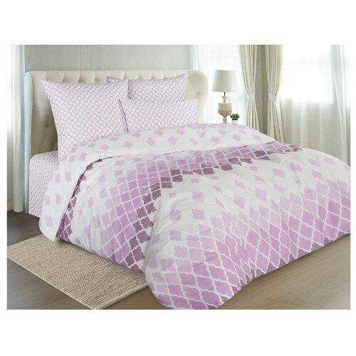 Постельное белье 2-спальное Guten Morgen Арабеска 889 70х70 см, бязь белый/фиолетовый