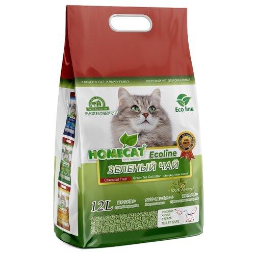 Фото - Комкующийся наполнитель HOMECAT Эколайн Зеленый чай 12 л для кошачьих туалетов с ароматом зеленого чая впитывающий наполнитель for cats с ароматом зеленого чая 4 л