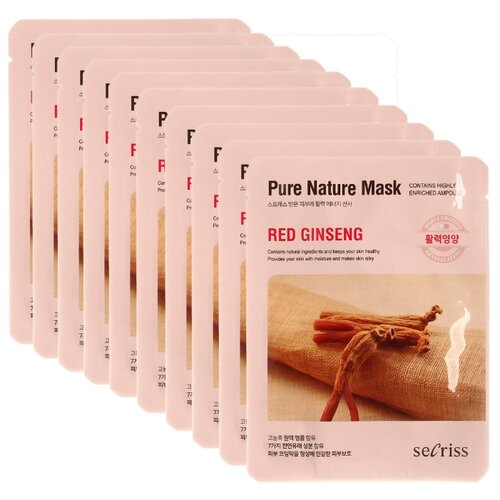 Secriss маска тканевая Pure Nature Mask Pack Red Ginseng с экстрактом красного женьшеня, 25 мл, 10 шт.