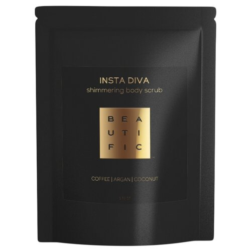 BEAUTIFIC Insta Diva Сияющий кофейный скраб для тела с маслом арганы и манго, 100 г