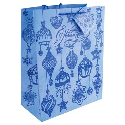 Пакет подарочный Феникс Present Синие новогодние шары 32.4 х 26 х 12.7 см синий пакет подарочный феникс презент дед мороз в санях 17 8 х 22 9 х 9 8 см