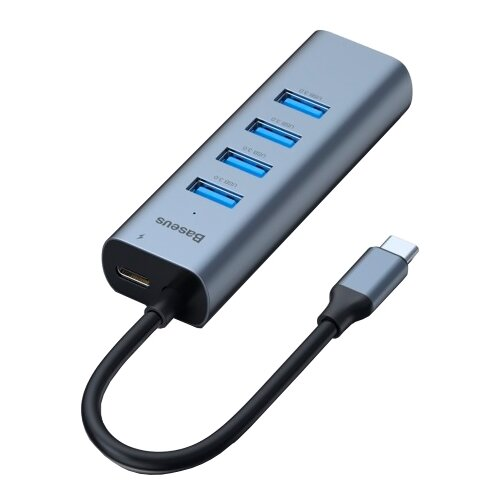 USB-концентратор Baseus Enjoy Series Type-C (CAHUB-Q0G), разъемов: 5, серый