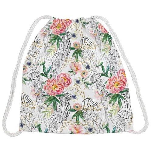 Купить JoyArty Рюкзак-мешок Медузины пионы (bpa_164374) белый/зеленый/розовый, Мешки для обуви и формы