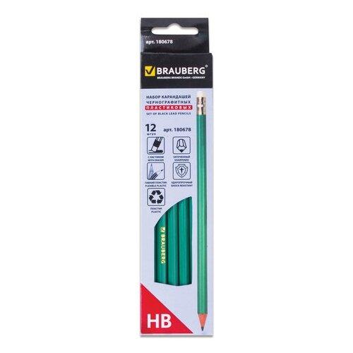 Купить BRAUBERG Набор чернографитных карандашей 12 штук (180678) зелeный, Карандаши