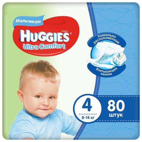 Купить Huggies подгузники Ultra Comfort для мальчиков 4 (8-14 кг), 80 шт., Подгузники