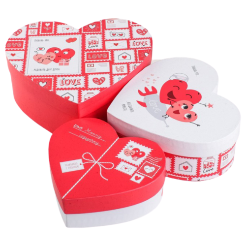Фото - Набор подарочных коробок Дарите счастье Любовь повсюду, 3 шт. белый/красный/черный набор подарочных коробок дарите счастье универсальный 10 шт бежевый белый черный