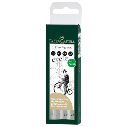 Faber-Castell Набор капиллярных ручек Ecco Pigment, 0.1, 0.3, 0.5, 0,7 мм, 4 шт (166004), черный цвет чернил faber castell ручка капиллярная ecco pigment 0 7 мм цвет чернил черный