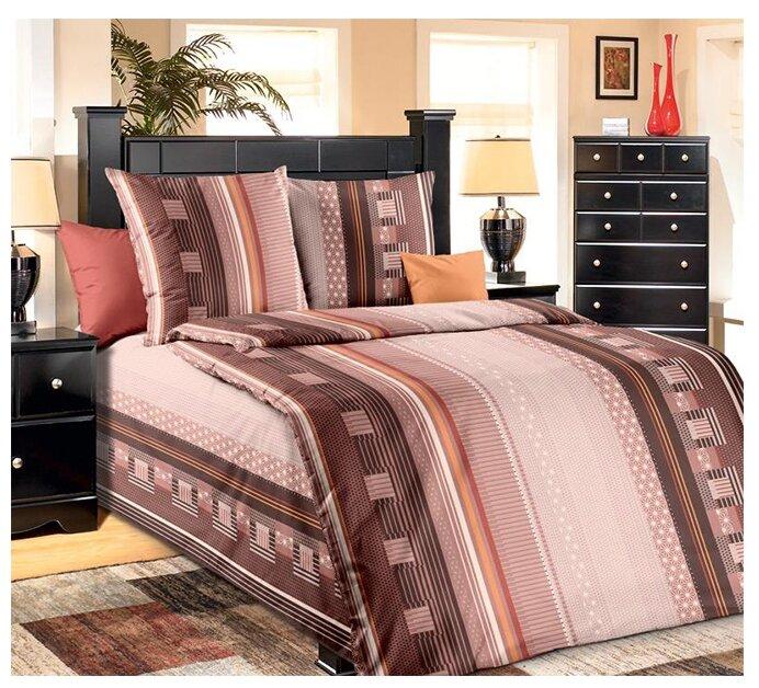 Постельное белье 1.5-спальное Текс-Дизайн Квадро, бязь коричневый