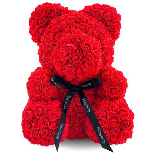 Kani Мишка из 3D роз, 40 см красный