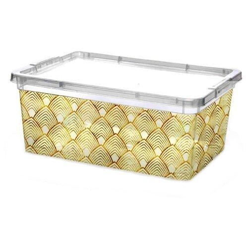ПОЛИМЕРБЫТ Контейнер с крышкой 25,9х18,2х10,6 см прозрачный/золотистый